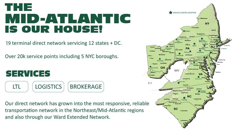 map of Ward Transport & Logistics' direct network map of the Northeast/Mid-Atlantic area